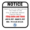 Notice of Deadline to File Applications