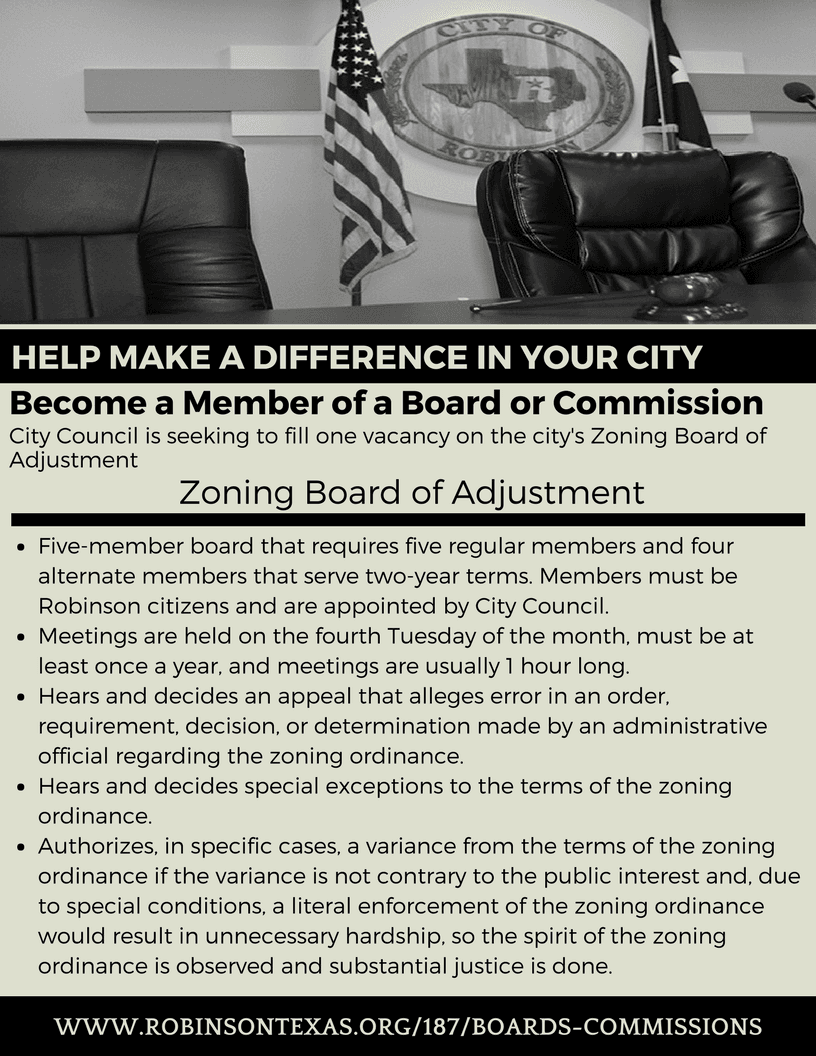 Vacancy Zoning Board of Adjustment