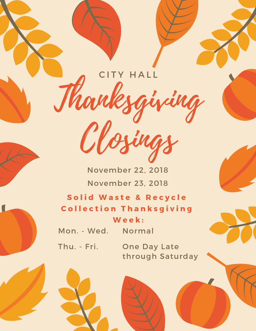 City Hall Thanksgiving Closings