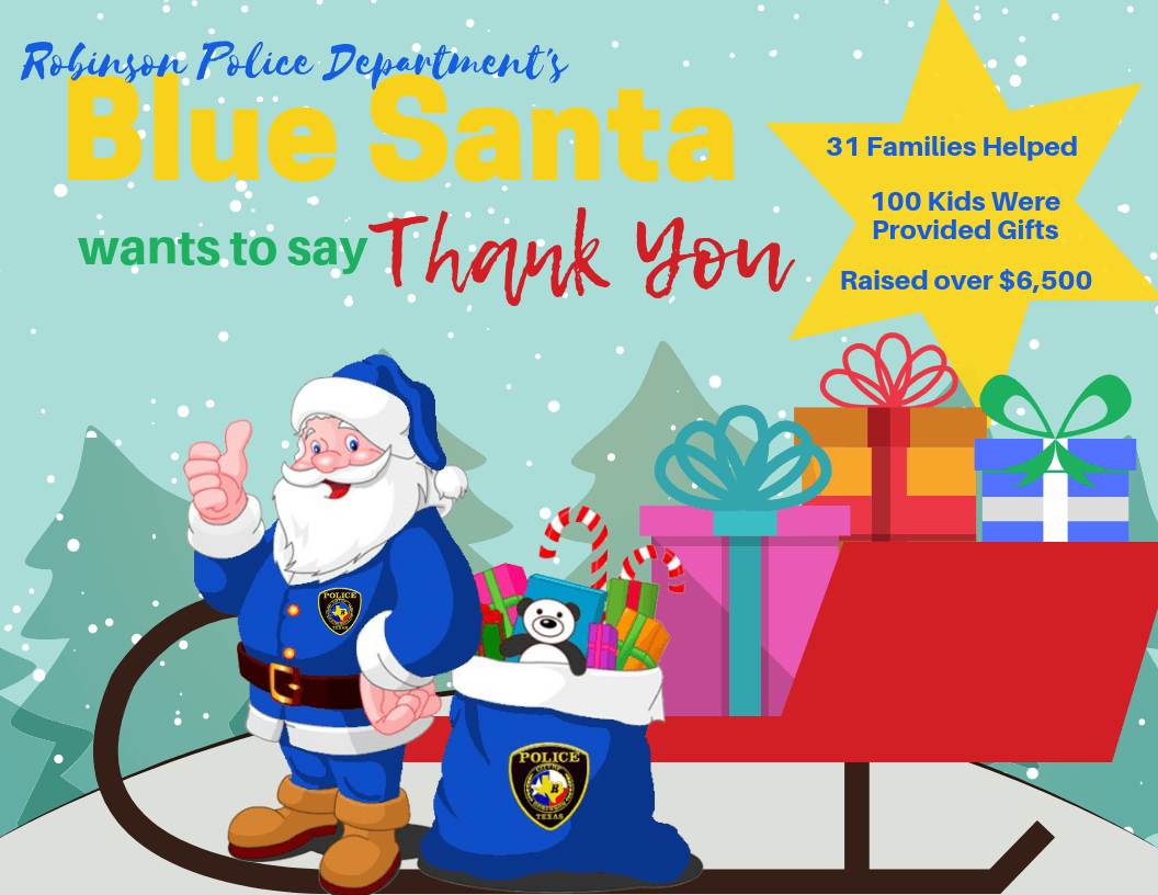 Robinson Police Department's Blue Santa Wants to Say Thank You