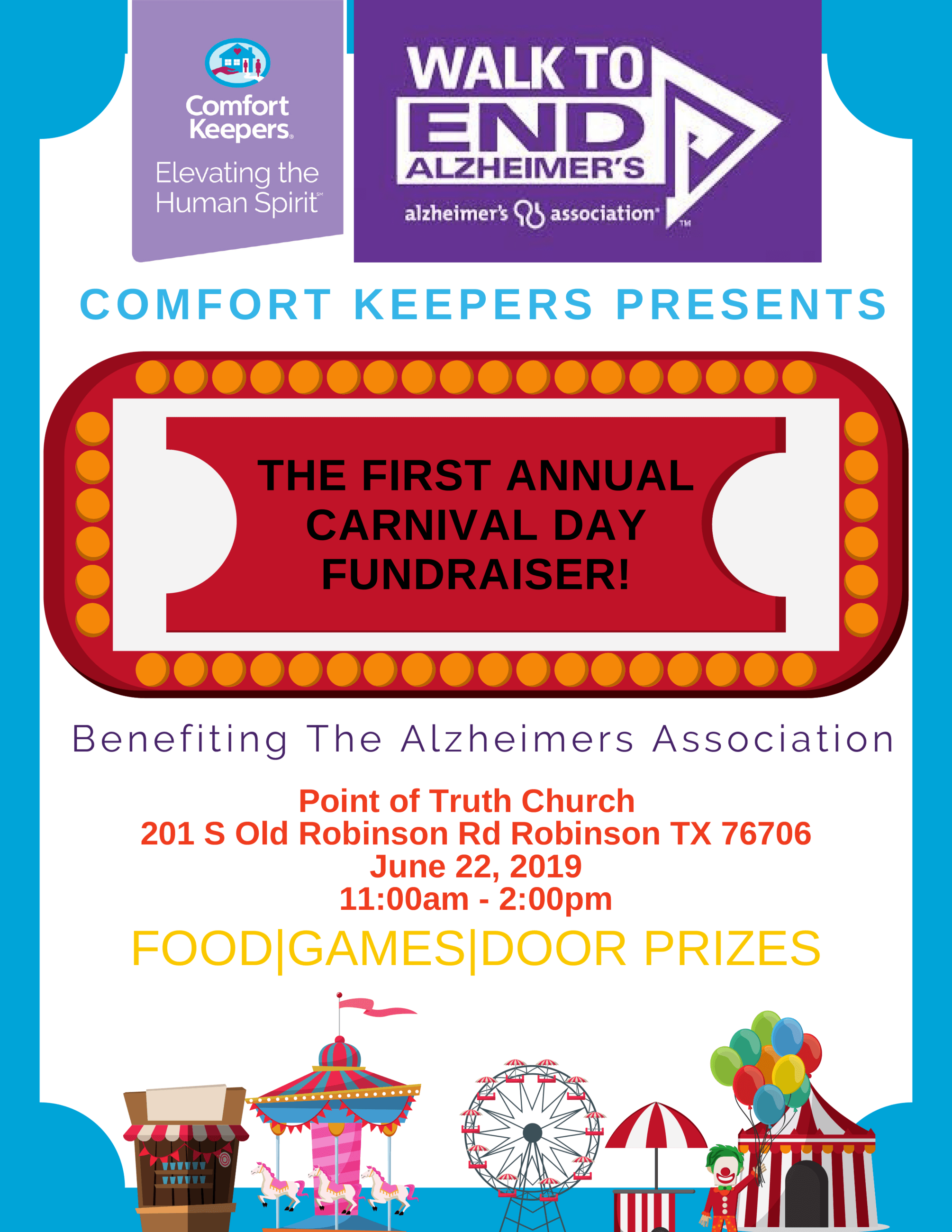 Walk to End Alzheimer's; Comfort Keepers Presents: The First Annual Carnival Day Fundraiser benef