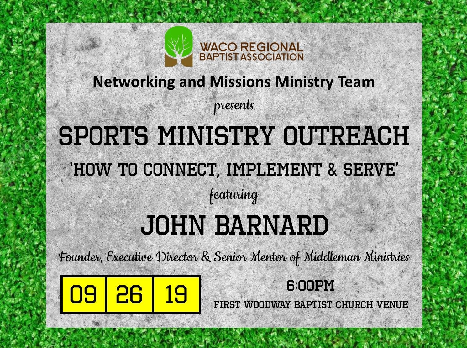 Waco Regional Baptist Association Networking and Ministry Missions Team presents: Sports Ministry Ou