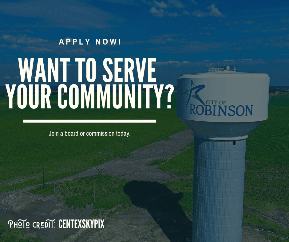 Want to serve your community? Apply now! Join a board or commission today.