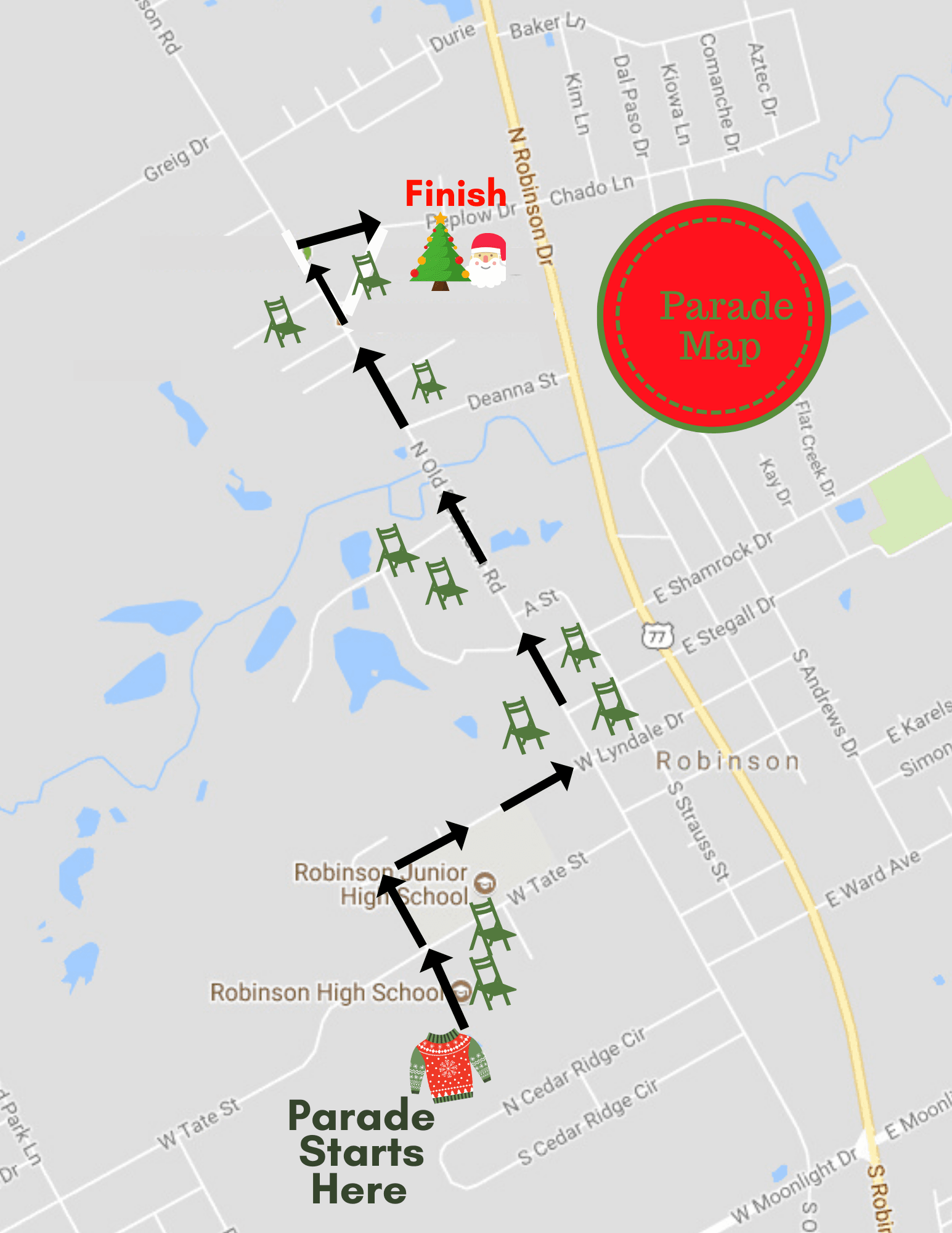 Christmas parade route map with spectator locations. Parade starts at Robinson High School on Lyndal