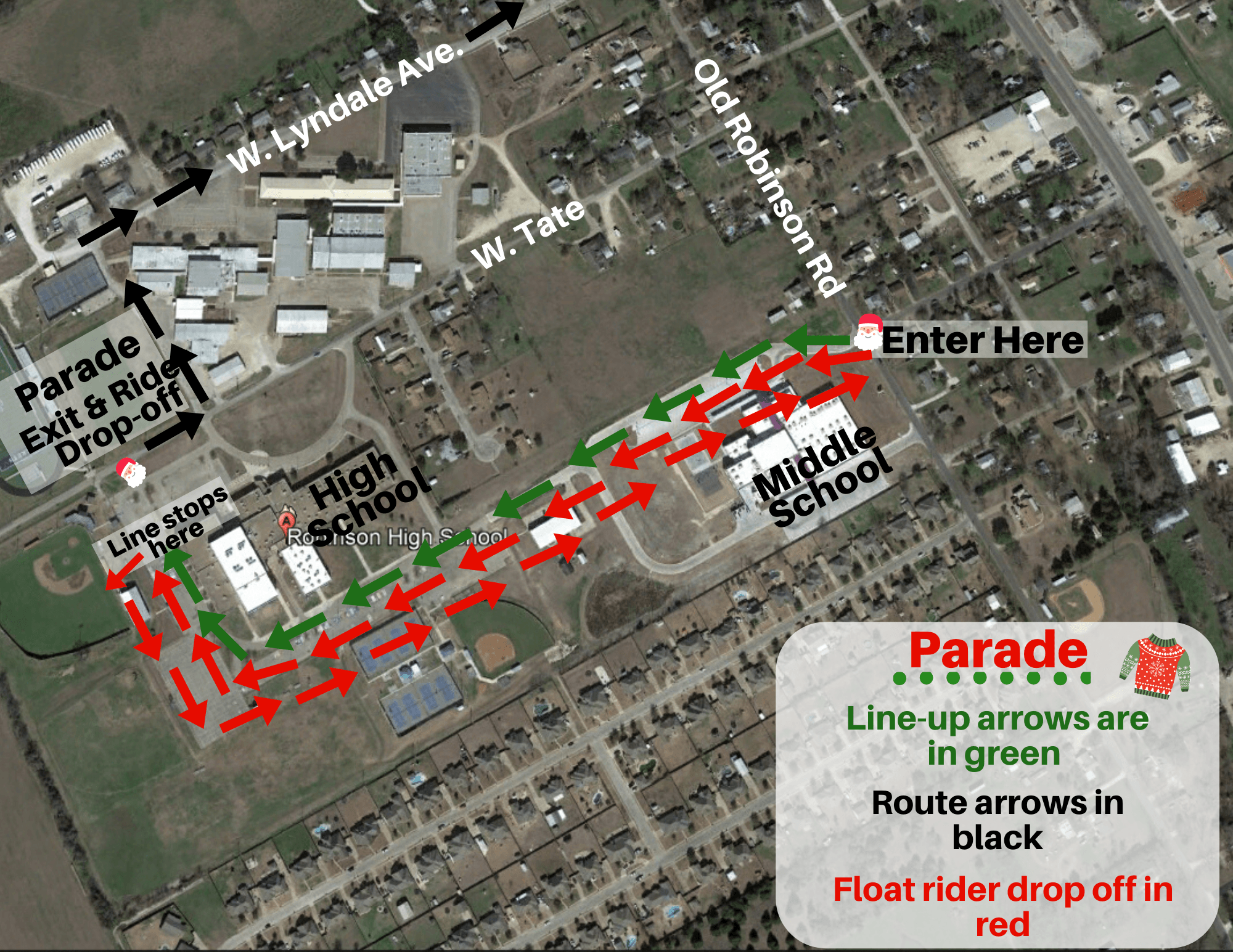 Christmas Parade Line Up Map. Float line up begins next to Robinson High School and goes toward Old