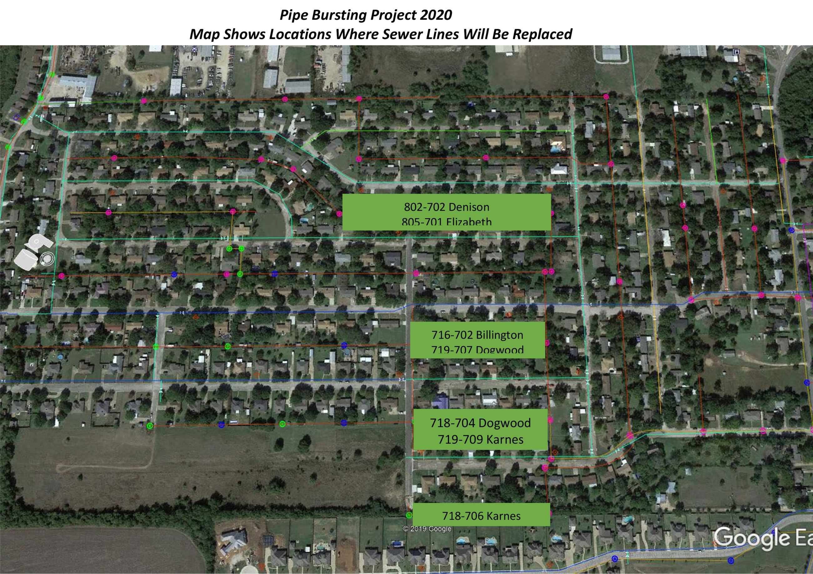 Pipe Bursting Project 2020; Map shows locations where sewer lines will be replaced; 802 - 702 Deniso
