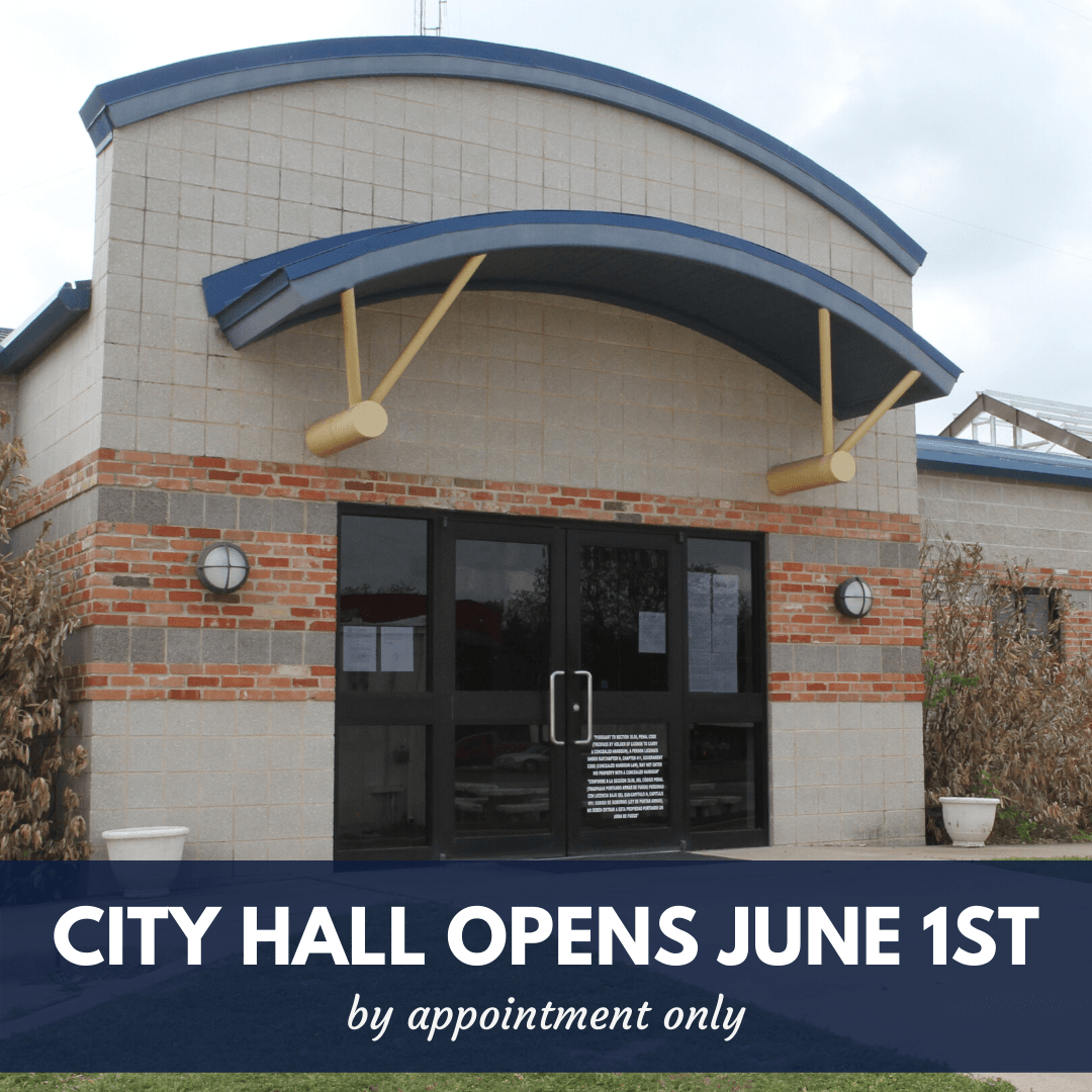 City Hall opens June 1st by appointment only