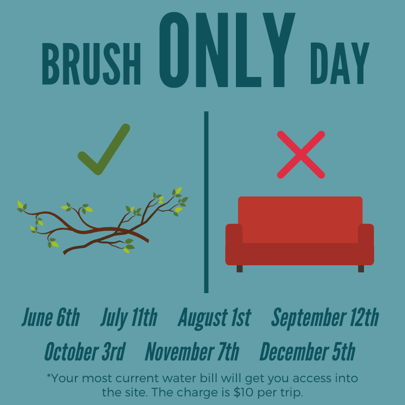 Brush Only Day; June 6th, July 11th, August 1st, September 12th, October 3rd, November 7th, December