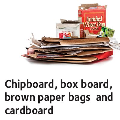 Cardboard, chipboard, box board and brown paper bags