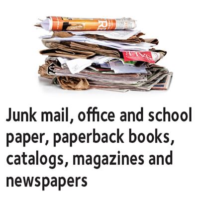 Junk mail, office and school paper, paperback books, catalogs, magazines and newspapers