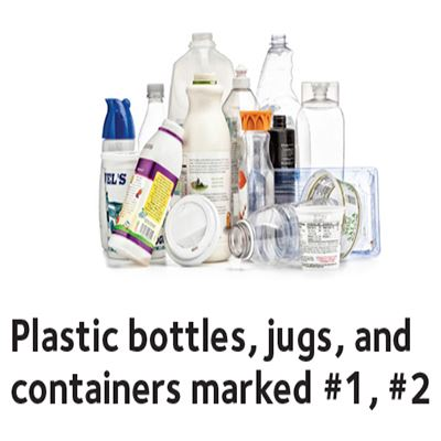 Plastic bottles, jugs, and containers marked #1, #2